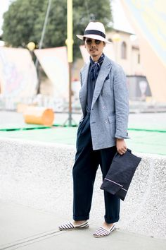On the street at Pitti Uomo in Florence. Photo: Imaxtree