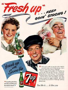 Original 7-UP FRESH UP SODA Family Dad Son Cardboard Sign 1948 Unused LAST ONE