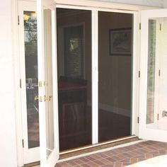 Clearview retractable screen door aaa sun control for Hidden screens for french doors