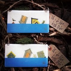 "Check out these little beauties. A fun take on our ""oh I do like...."" Range"". We now have our ""oh I do like....high tide versions. #seaside #sand #beach #beachhut #deckchair #colours #scarborough #gekoglass #twine #gift #holidays #countryhome #fusedglass #inclusion #decals #french #vanilla #clear #dustyblue #woodchips #moss #handmade #handcrafted #bohochic #shabbychic #glass #smallbusiness #home #kiln"