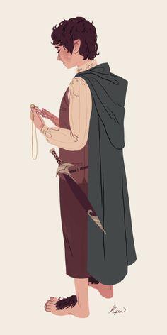 Frodo Baggins, by Sara Kipin Legolas, Frodo Bolsón, Frodo Baggins, Aragorn, Thranduil, Gandalf, Kili, Hobbit Art, O Hobbit