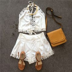 355af9f6b0680 White Halter V Neck Top With Floral Crochet Shorts EmmaCloth-Women Fast  Fashion Online