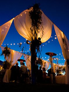 romantic lighting, outside wedding (night)