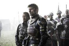"Game of Thrones Season Episode 7 ""The Broken Man"" - Jerome Flynn as Bronn and Nikolaj Coster-Waldau as Jaime Lannister. Jaime Lannister, Cersei Lannister, Margaery Tyrell, Game Of Thrones 6, Game Of Thrones Saison, Game Of Thrones Pictures, Game Of Thrones Episodes, Jerome Flynn, West Side Story"