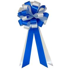 Royal Blue and White Wedding Pull Bows with Tails for Church Pews and Chairs - 8' Wide, Set of 6 ** To view further for this item, visit the image link.