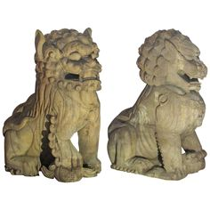 Palace Size Carved Wooden Foo Dogs | From a unique collection of antique and modern more asian art, objects and furniture at https://www.1stdibs.com/furniture/asian-art-furniture/more-asian-art-furniture/