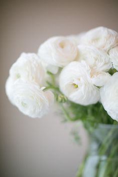 #ranunculus, #floral-arrangement, #white  Photography: Matthew Land Studios - www.matthewland.com  View entire slideshow: Look For Less: Wedding Flowers on http://www.stylemepretty.com/collection/1338/