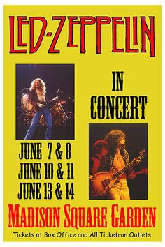 Robert Plant, Jimmy Page Led Zeppelin at Madison Square Garden Tour Poster 1977 Led Zeppelin Poster, Led Zeppelin Concert, Tour Posters, Band Posters, Music Posters, Blues Rock, Madison Square Garden Concert, Woodstock Poster, Jazz