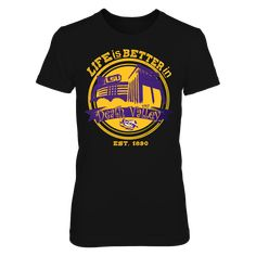 LSU Tigers - Life Is Better in Death Valley T-Shirt, TIP: If you buy 2 or more (hint: make a gift for someone or team up) you'll save quite a lot on shipping.  Click the GREEN BUTTON, select your size and style.  The LSU Tigers Collection, OFFICIAL MERCHANDISE  Available Products:          District Women's Premium T-Shirt - $29.95 District Men's Premium T-Shirt - $27.95 Gildan Unisex T-Shirt - $25.95 Gildan Women's T-Shirt - $27.95 Gildan Unisex Pullover Hoodie - $49.95 Next Level Women's…