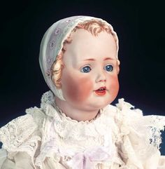 "Very Beautiful and Rare German Bisque Doll with Sculpted Bonnet by Kestner  14"" (36 cm.)"