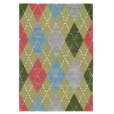 Capel Playtime Argyle Lime Multi Kids Rug - 3092-220 - Wool Rugs - Area Rugs by Material - Area Rugs