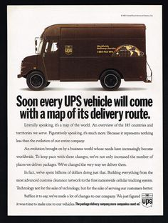 1993 UPS Delivery Truck Cellular Tracking United Parcel Service Print Ad
