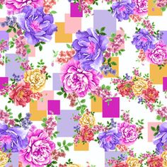 Seamless Geometric and Flowers Pattern by Eduardo Doreni Seamless Repeat  Royalty-Free Stock Pattern