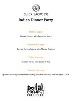 Indian Dinner Party Menu