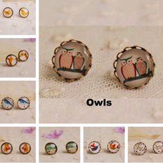 Stud Earrings (12 pairs/lot) of cute animals