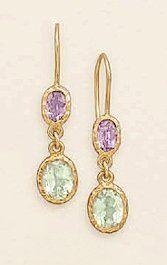 14K Gold Plated Sterling Wire Earrings,6.5x8.5mm Amethyst,9x11mm Green Amethyst,1 inch Silver Messages. $34.99. Save 29% Off!