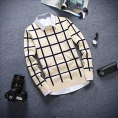 New Autumn Fashion Brand Clothing Casual Sweater Male Long Sleeve O-Neck Plaid Slim Fit Knitting Pullovers Mens Sweaters Pull