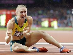 Australia's Sally Pearson celebrates