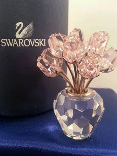 Swarovski Genuine Crystal Pink Rose Tulips in Pot Figurine As Is Sm Flaw Hol99