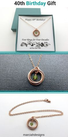 40th Birthday Gift for Women| Rose Gold Birthstone Necklace Handmade Jewelry by MarciaHDesigns | Rose Gold Jewelry Gift