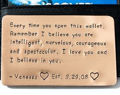 Copper Wallet Insert Card Anniversary Gift for Men by RameWorks … – Valentine's Day Surprises Message For Boyfriend, Boyfriend Gifts, Birthday Presents For Men, Birthday Gifts, Birthday Cakes, Happy Birthday, Sons Birthday, Birthday Bash, Birthday Message For Husband