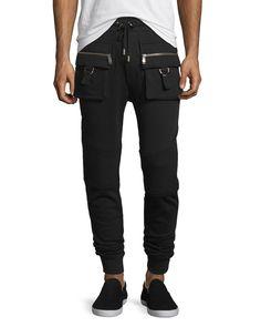 Cargo Moto-Style Jogger Sweatpants, Black, Beige - Bon Vivan