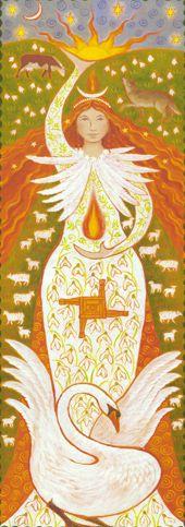 Brigid Maiden Fire Goddess Banner by Wendy Andrew