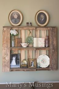 how to decorate pallet shelves, diy, home decor, pallet, repurposing upcycling, shelving ideas, wall decor, Collected pieces from around the house that were meaningful to me including pictures of my great grandparents
