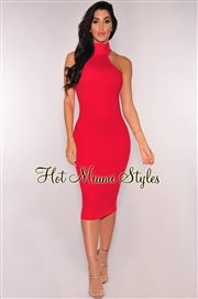 Red Mock Neck Dress