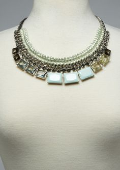 LYDELL NYC Woven Chain and Stone Necklace
