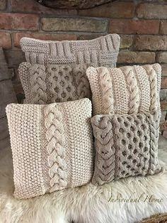 Knitting Stitches, Baby Knitting, Knitting Patterns, Crochet Patterns, Crochet Pillow Pattern, Knitted Cushion Covers, Knitted Cushions, Crochet Home, Knit Crochet