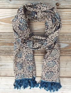 Blue Shell Scarf from Passion Lilie. Fair trade. Handblock printed. 100% super soft cotton. Eco dyes.