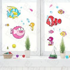 Tropical Fish  Wall Decals Stickers Appliques Home Decor ** This is an Amazon Affiliate link. For more information, visit image link.
