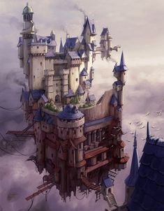 Floating Settlement by Hamish Frater : ImaginaryCastles Buildings Artwork, Science Fiction, Medieval, Pirate Art, Fantasy Castle, Image Painting, Environment Concept Art, Fantasy Inspiration, Fantasy Landscape