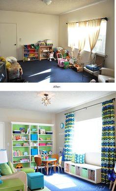exactly what I need- a big shelf, and a bench w/ bins!! KIds playroom ideas @ MyHomeLookBookMyHomeLookBook