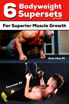 Supersets are amazing for fast workouts and muscle hypertrophy. Use these 6 bodyweight supersets for superior muscle growth and a speedy workout. Calisthenics Workout Program, Plyometric Workout, Squat Workout, Workout Programs, Hitt Workout, Fast Workouts, Weight Lifting Workouts, Weight Exercises, Body Workouts