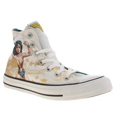 womens converse white & gold all star hi wonderwoman trainers