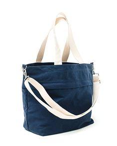 Canvas Market Tote by Abbot Fjord - Large Travel Bag With Outer Zipper Pocket (Navy) Mens Tote Bag, Messenger Bag Men, Travel Tote, Reusable Bags, Shoulder Strap, Shoulder Bags, Fashion Bags, Diaper Bag, Gym Bag