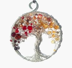 Wire wrapped silver autumn tree of life pendant, unique artistic jewelry, finesse necklace, wire art gift idea womens gift sparkling pendant