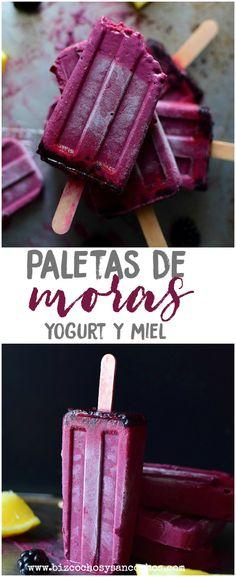 Paletas, helado casero fácil de preparar. Una merienda saludable con todo el sabor y color de la fruta. ¡Ideal para el verano! Se prepara con sólo cuatro ingredientes