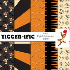 Disney Tigger Inspired 12x12 Digital Paper by monbonbon on Etsy, $2.99