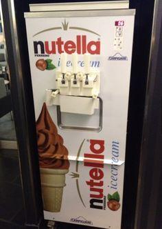 Nutella ice cream vending machine in a bar