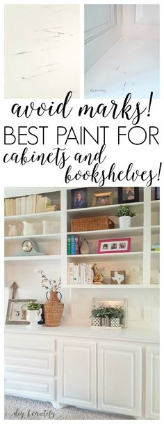 Wondering what kind of paint to use on your cabinets and bookshelves? Learn from my mistake and get it right the first time! More at diy beautify! Diy Furniture Projects, Diy Home Decor Projects, Furniture Makeover, Decor Ideas, Outdoor Furniture, Painted Bookshelves, Built In Bookcase, Bookcases, Painting Bookshelf