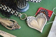 Silver Spoon Jewelry: Vintage Spoon and Fork Jewelry: Monterey Heart Necklace