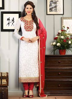 Fresh Georgette and Silk White Churidar Suit www.ethnicoutfits.com Email : support@ethnicoutfits.com What's app : +918141377746 Call : +918140714515