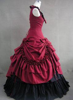 Robe de soirée de Gothique sans matches Rouge et Blanche, gothic-boutique.com