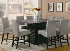 Wildon Home ® Brownville Counter Height Dining Table | Wayfair  Love the dark table with grey chairs!