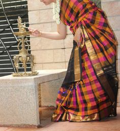 Black and yellow kanchi silk cotton with checks