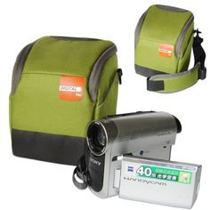 First2savvv high quality anti-shock green Nylon digital camcorder case bag for SAMSUNG HMX-F90WP 5MP HD Camcorder * More info could be found at the image url. (This is an Amazon Affiliate link and I receive a commission for the sales)