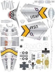 """F-86F Sabre """"Mig Mad Marine"""" - der Kampfflieger - 1:72 - PaperModelers.com"""